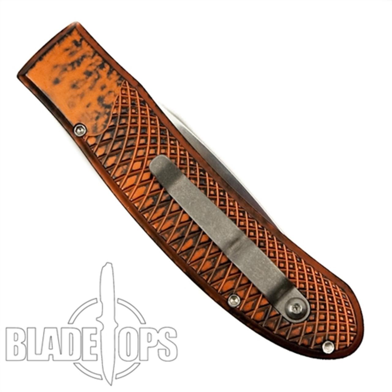 Piranha Orange Toxin Auto Knife, 154CM Mirror Blade