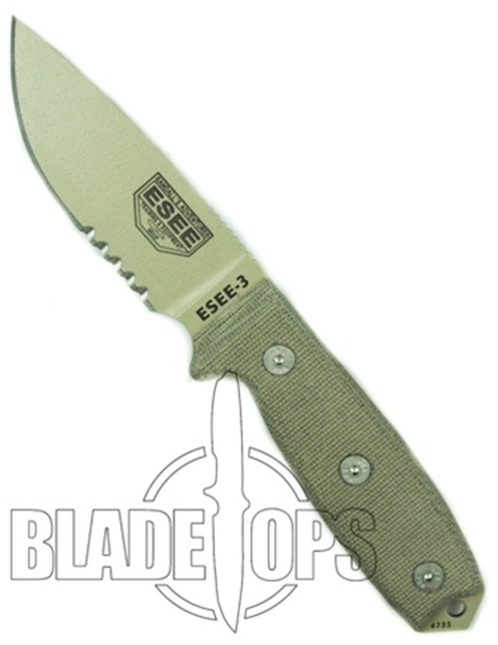 ESEE Knives Fixed Blade Knife, Desert Tan Part Ser Blade, Linen Micarta Handle, ESEE-3SDT
