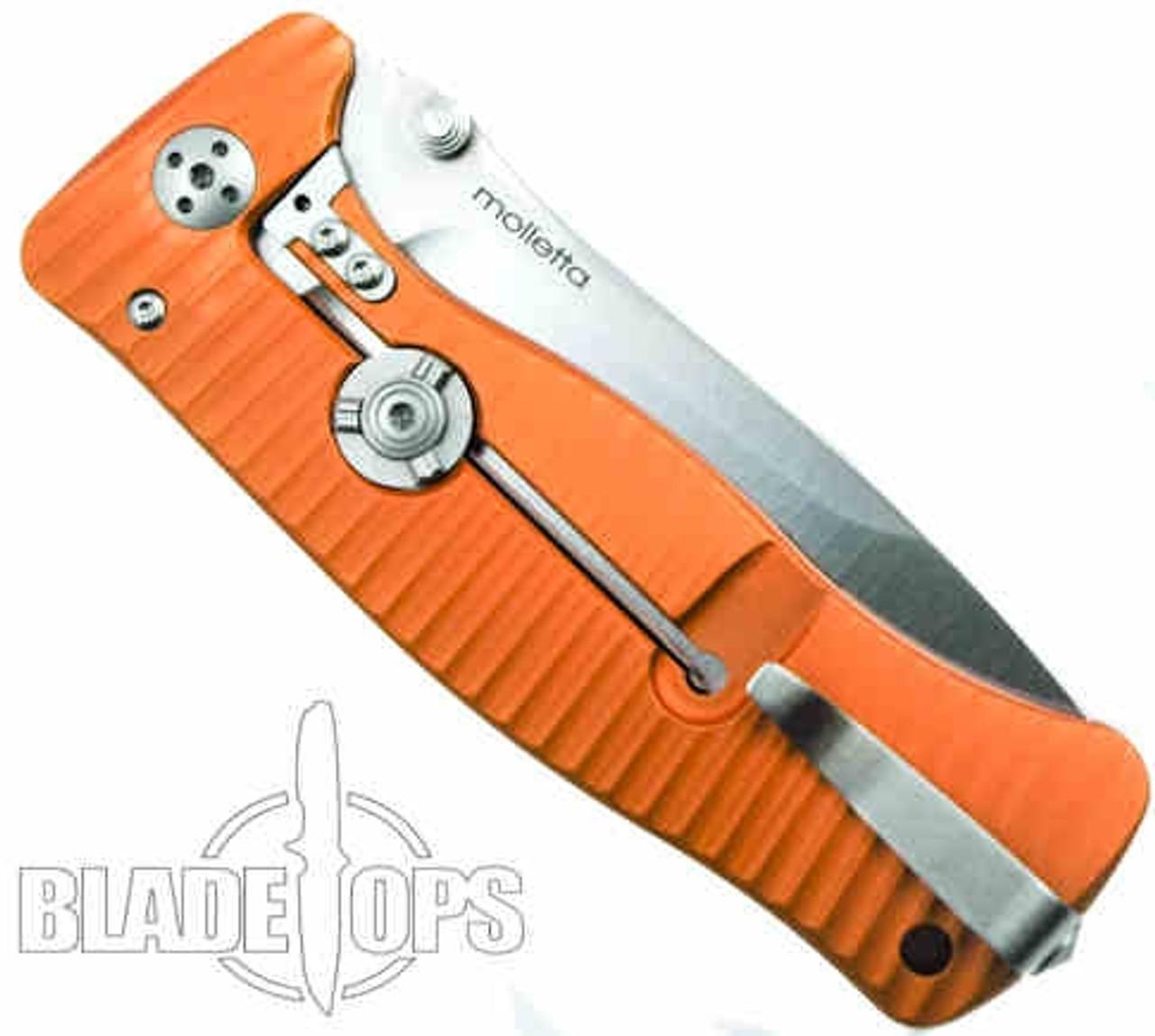 Lion Steel Knives SR1-Al Orange Aluminum Folder Knife, Satin Plain Blade