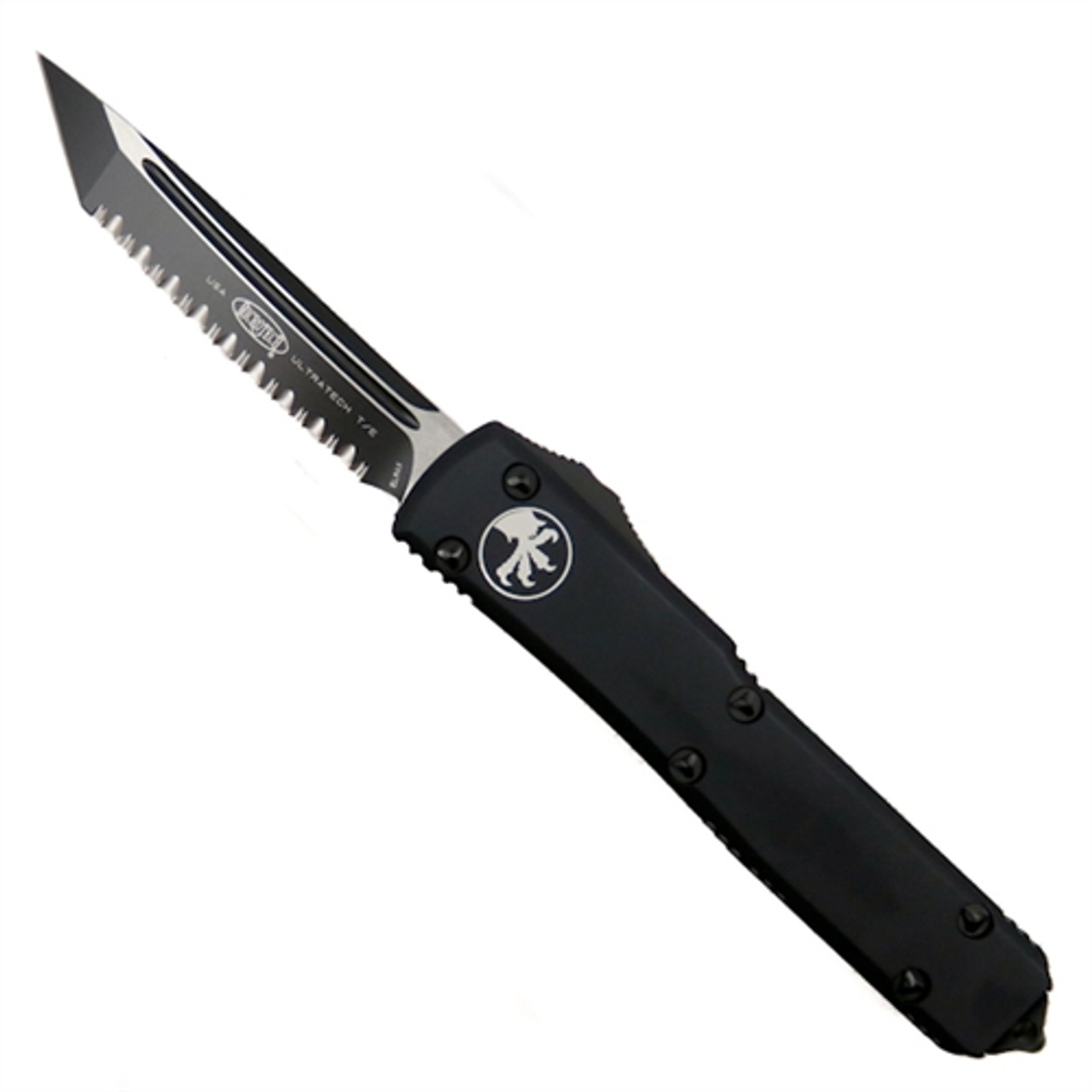 Microtech 123-3TCC Tactical Contoured Ultratech T/E OTF Auto Knife, Full Serrated Black Blade
