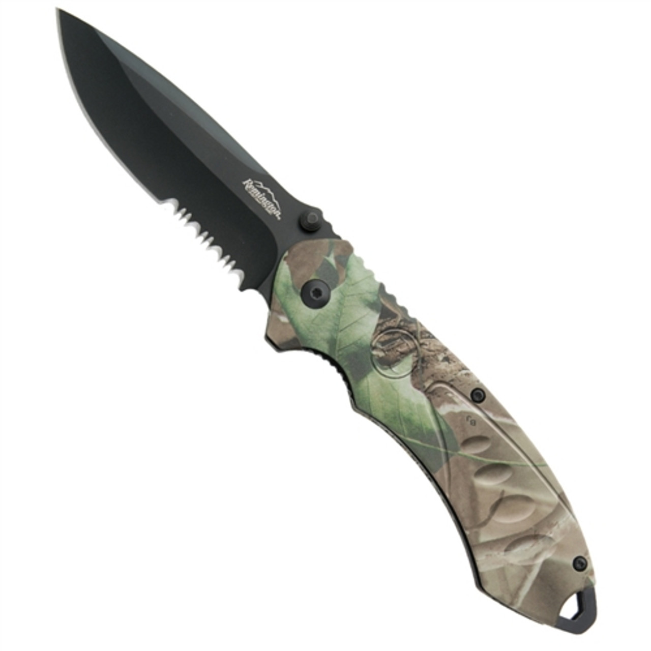 Remington Sportsman Assisted Opening Folder, Mossy Oak Obsession Camo Handle, Black Combo Blade