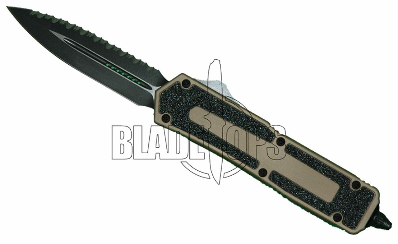 Microtech QD Scarab Double Edge, OTF, Tan Handle, Black Blade, Full Serrations One Side, Plain Edge One Side