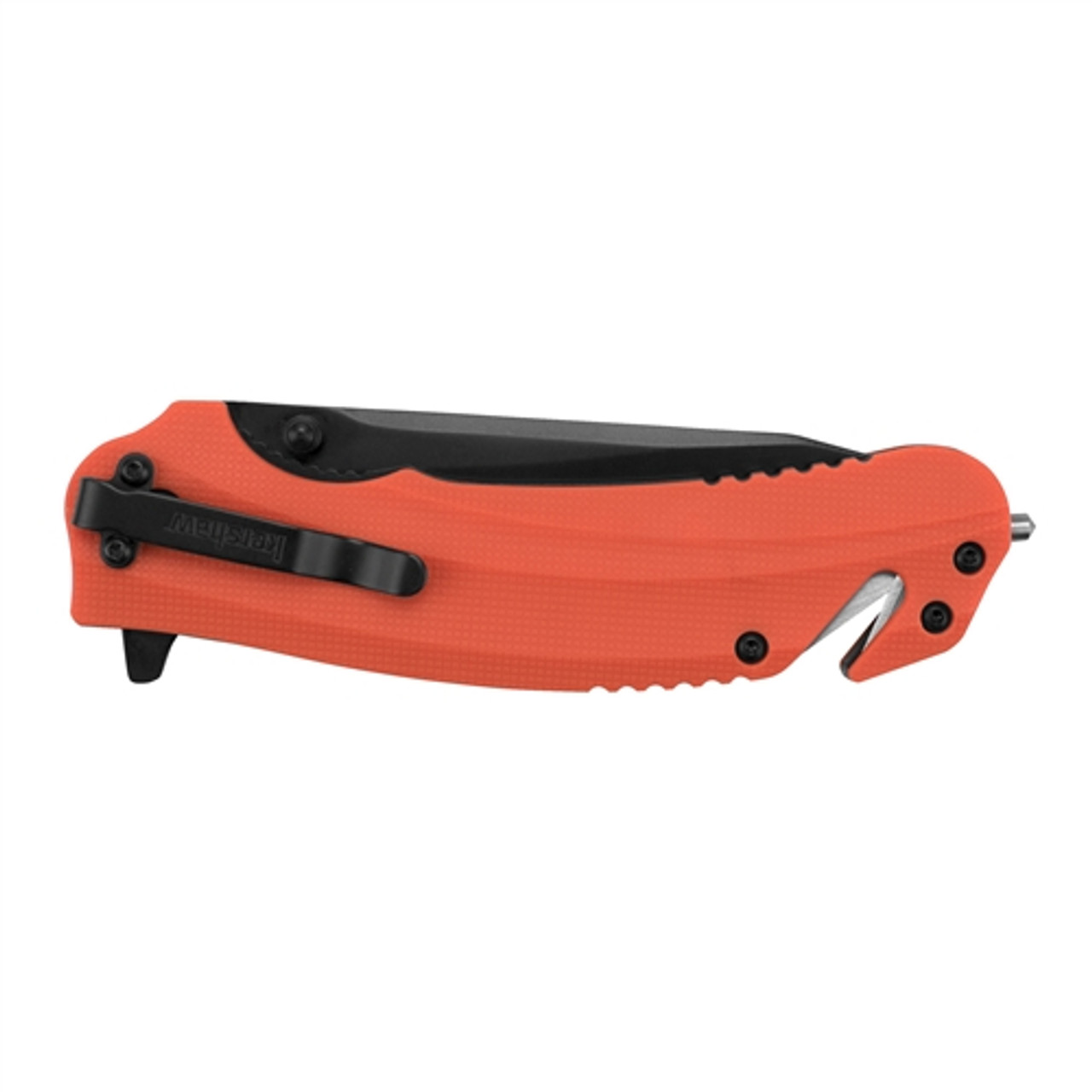 Kershaw 8650 Orange Barricade Rescue Spring Assist Knife, Black Blade