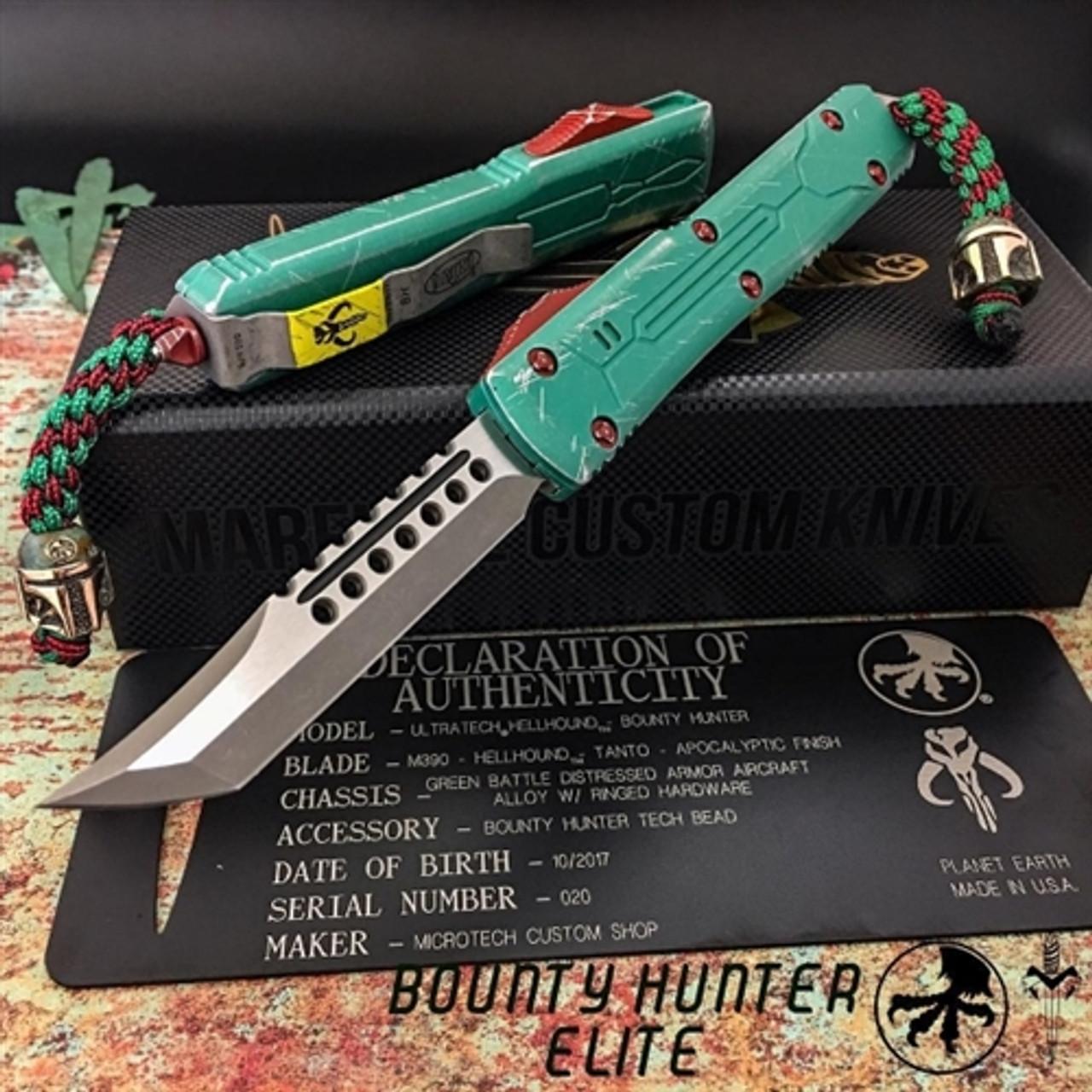 Marfione Custom Knives 119-10BHE Bounty Hunter Elite Ultratech Hellhound Tanto OTF Auto Knife, Apocalyptic Stonewash Blade