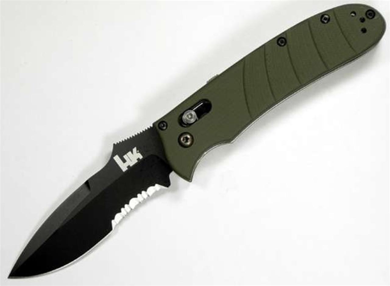 Benchmade H&K Snody Auto Axis Knife, Spear Point Combo Edge, Foliage Handle