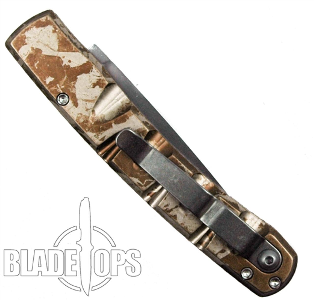 Piranha Desert Camo Virus Auto Knife, CPM-S30V Mirror Combo Blade