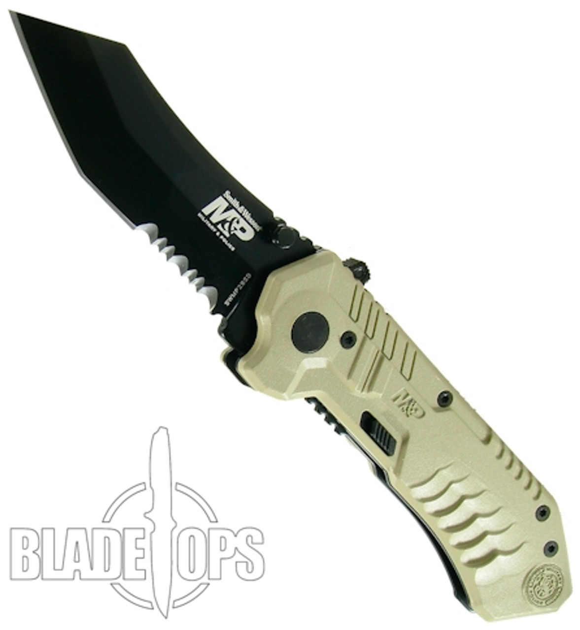 Smith & Wesson Military & Police MAGIC Assist Black Combo Scoop Back Tanto Blade, Tan Handle
