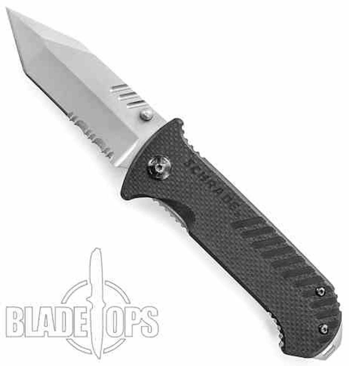 Schrade 102S G10 Folding Knife, Tanto Bead Blast Combo Blade