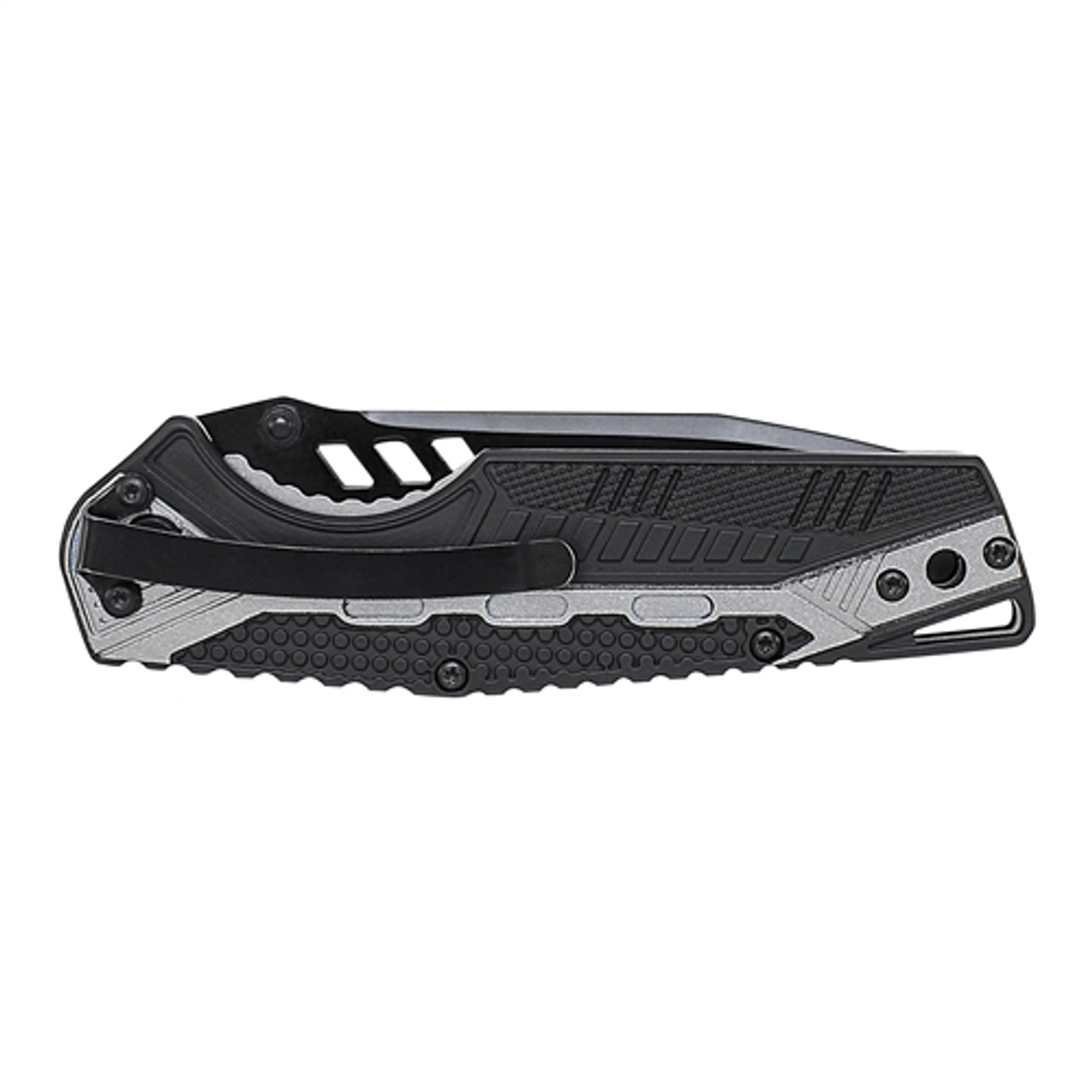 Smith & Wesson SW612S Black/Grey Tanto Folder Knife, Black Combo Blade