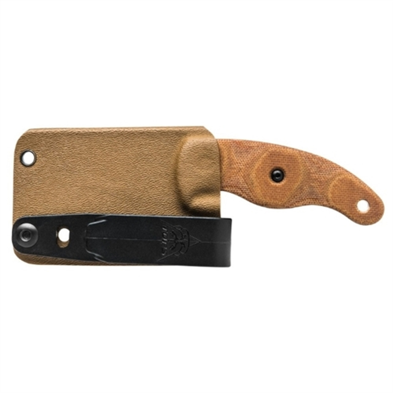 TOPS LILB-01 Tan Little Bugger Wharncliffe Micarta Fixed Blade Knife, 1095 Carbon Tumbled Blade