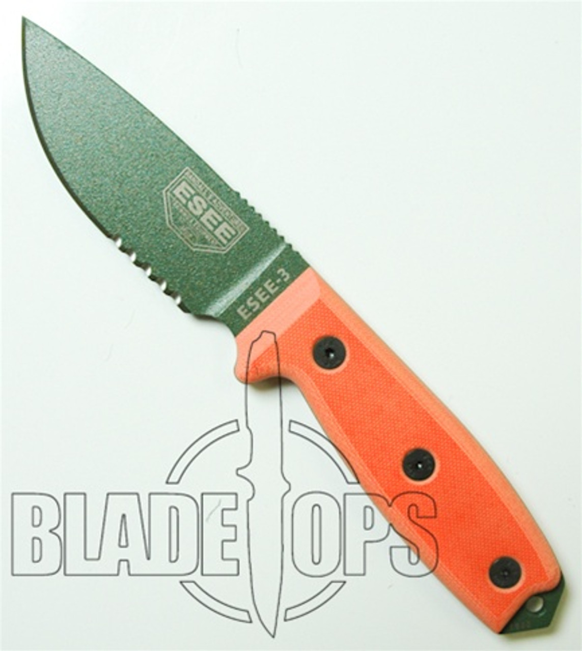 ESEE Knives RC3S Fixed Blade Knife, Olive Drab Blade, Part Serrated, Orange  Linen Micarta Handle, ESEE-3SOD