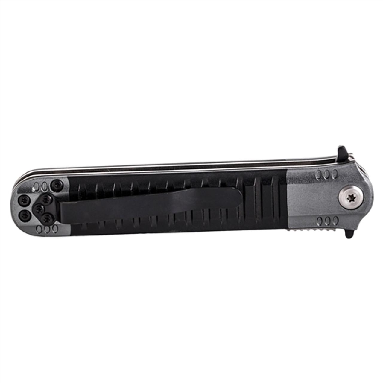 UZI FDR-009 Black/Grey Covert Spring Assist Knife, Black Blade