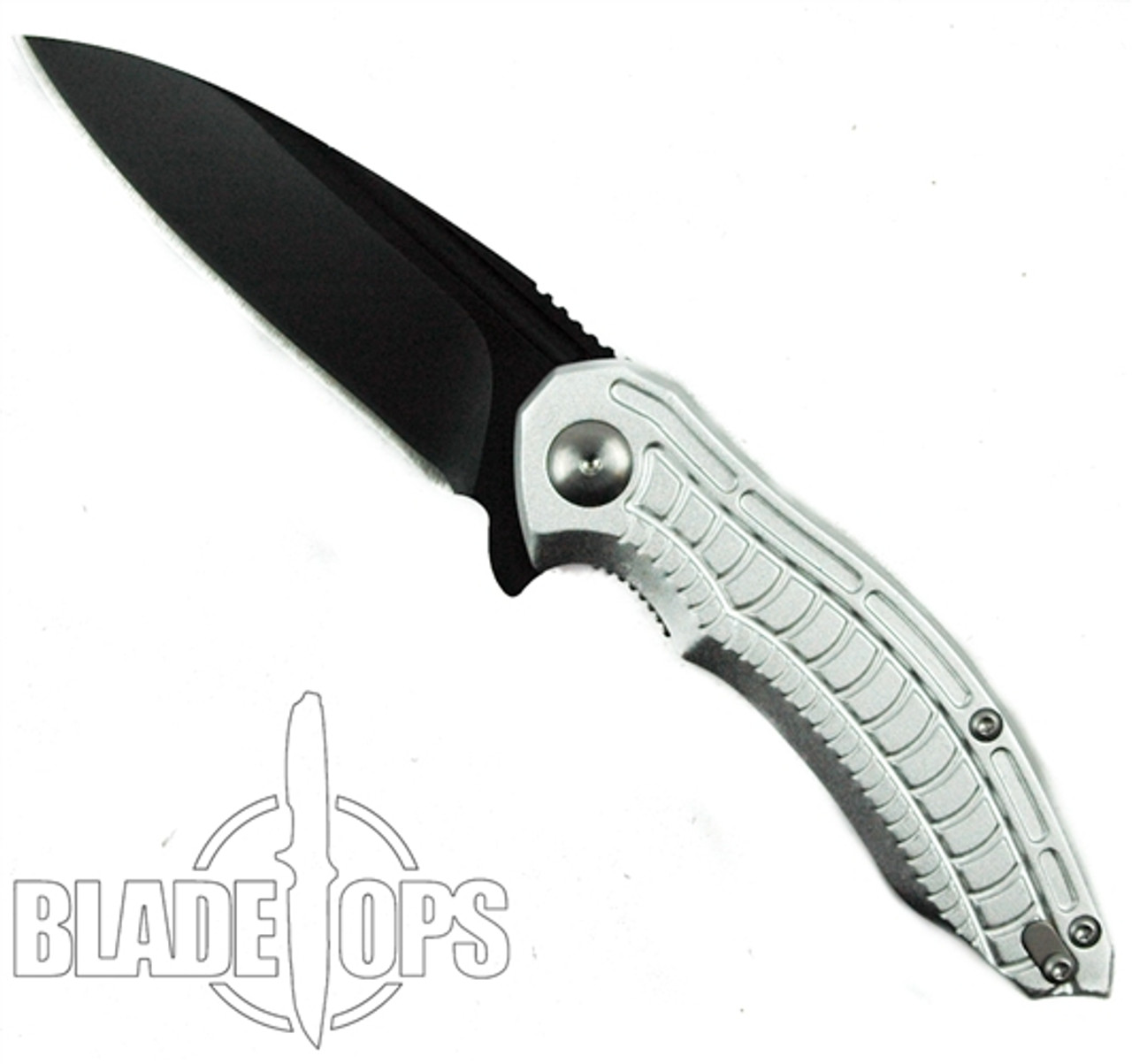 Brous Blades Silver Bionic 2.0 Flipper Knife, Black Blade