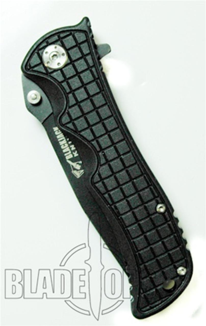 Blackjack Model 1 Tactical Drop Point Spring Assist Knife, Black, PLN, BJ034