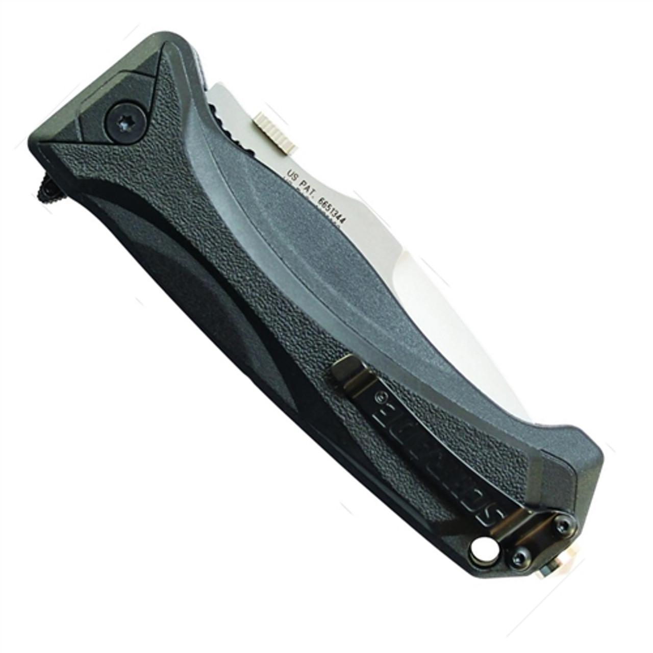 Schrade SCHA6LS Assist Knife, Black Handle, Bead Blast Combo Blade