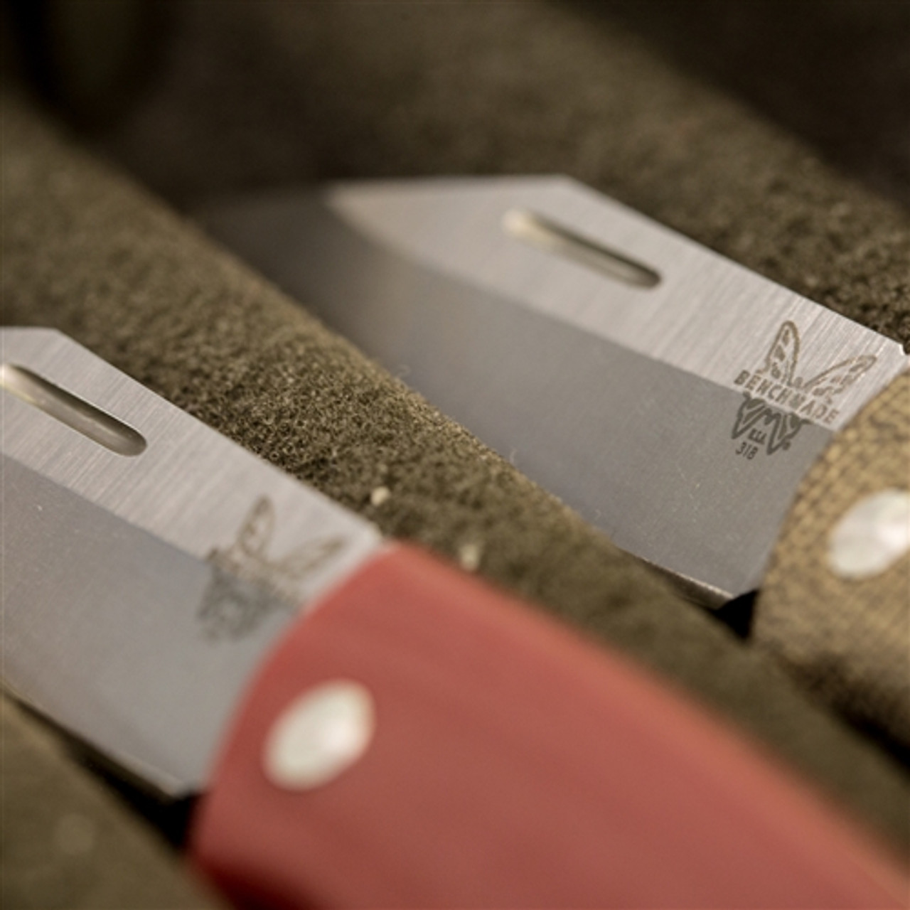 Benchmade 318-1 Dark Red Proper Clip Point Non-Locking Folder Knife, CPM-S30V Satin Blade
