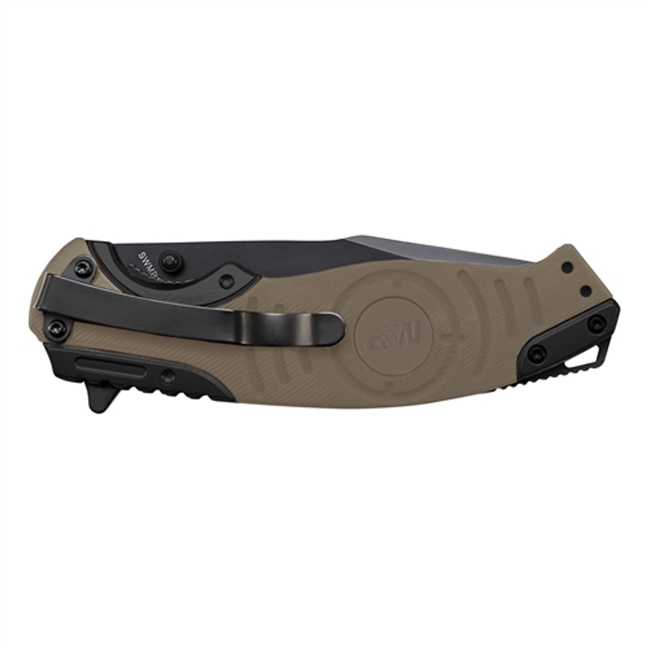Smith & Wesson M&P SWMP13GLS Tan/Black Folder Knife, Black Combo Blade