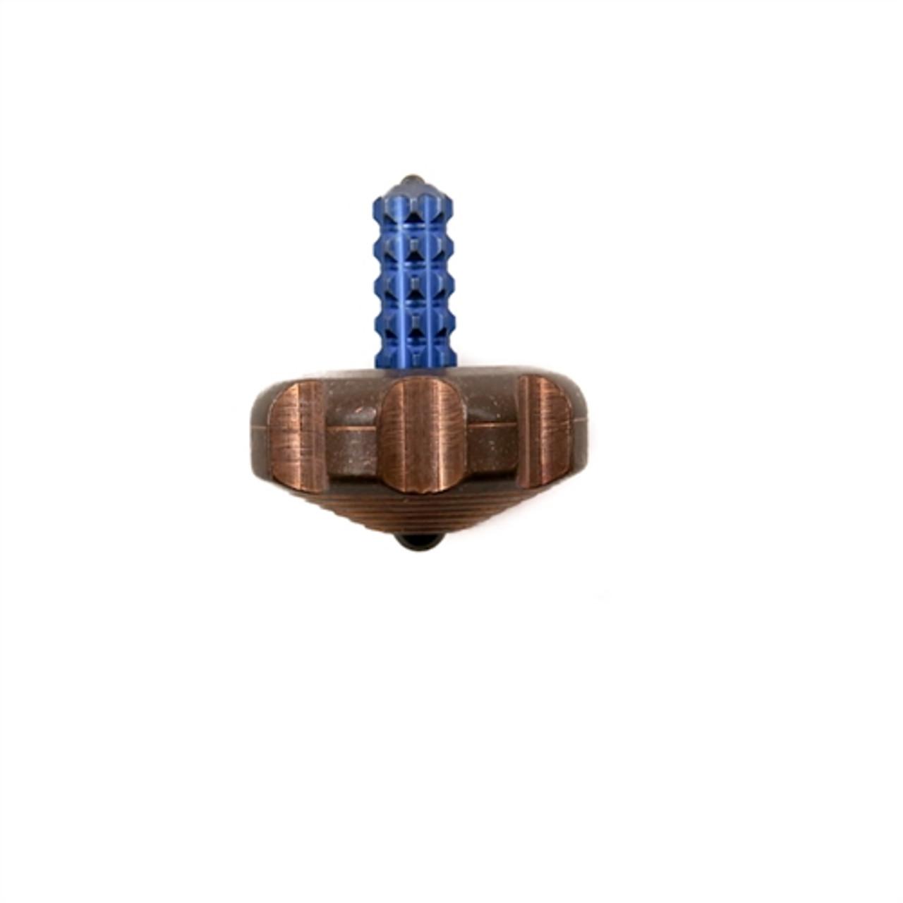 Marfione Custom Knives Copper Mini Spin Top, Blue Titanium Stem