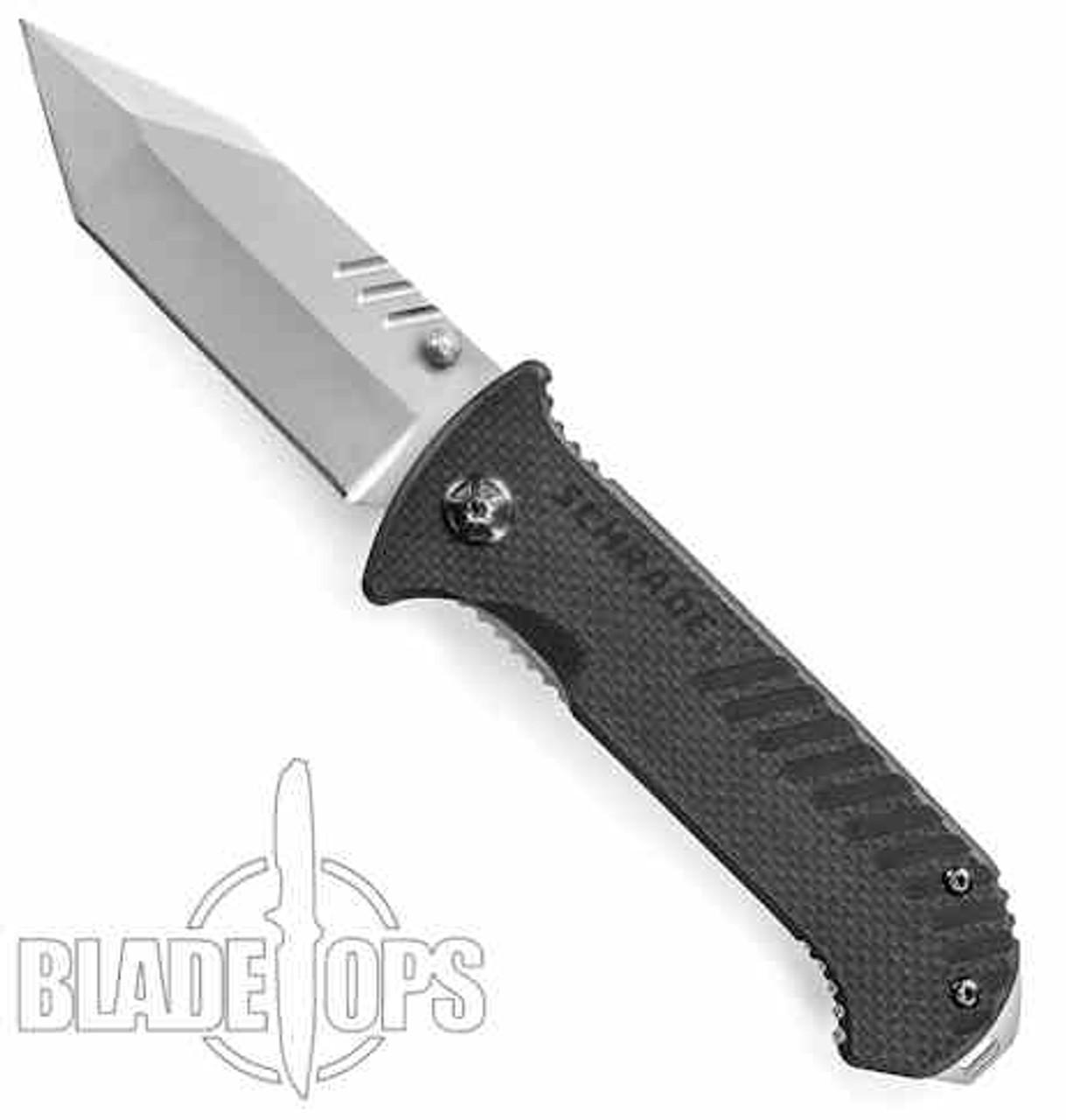 Schrade 102 G10 Folding Knife, Tanto Bead Blast Plain Blade