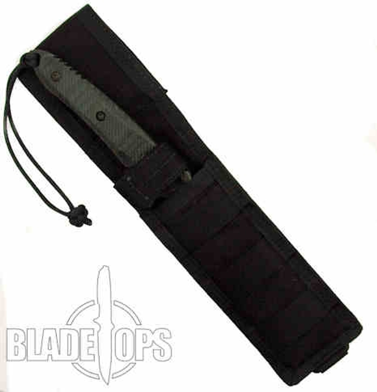 Spartan Blades Spartan Breed Fighter Knife, Black Blade, Black Handle, Black Nylon MOLLE Sheath