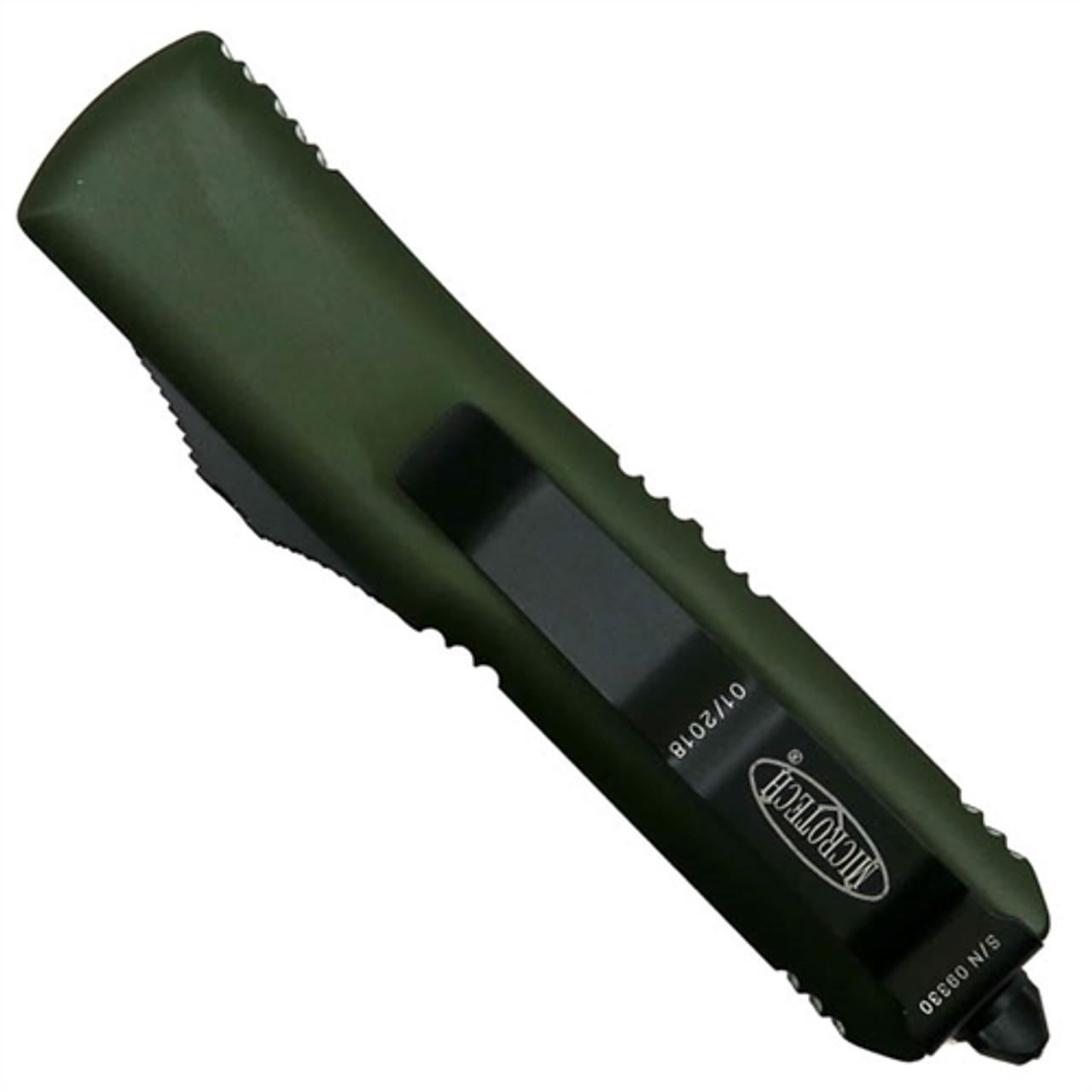 Microtech 233-1OD OD Green Contoured UTX-85 T/E OTF Auto Knife, Black Blade