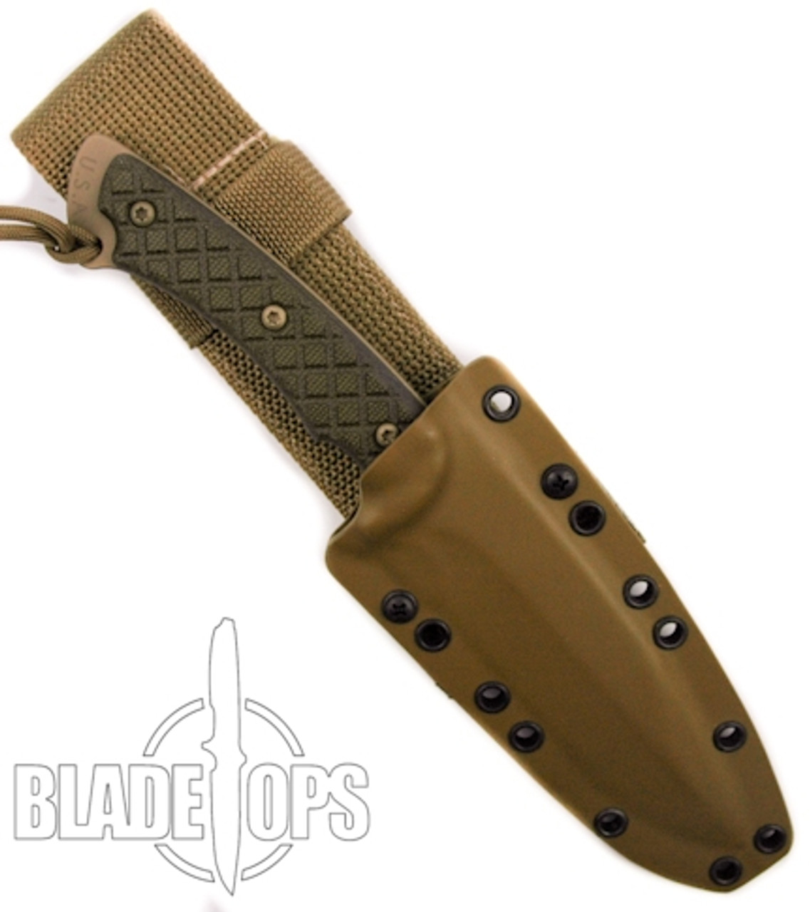 Spartan Blades HORKOS Fixed Blade Knife, Flat Dark Earth Blade, Green Handle, Tan Kydex Sheath