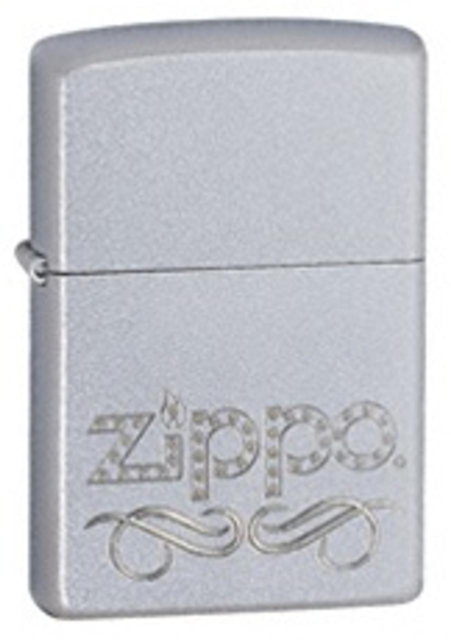 Zippo Scroll Lighter, Satin Chrome, Zippo 24335