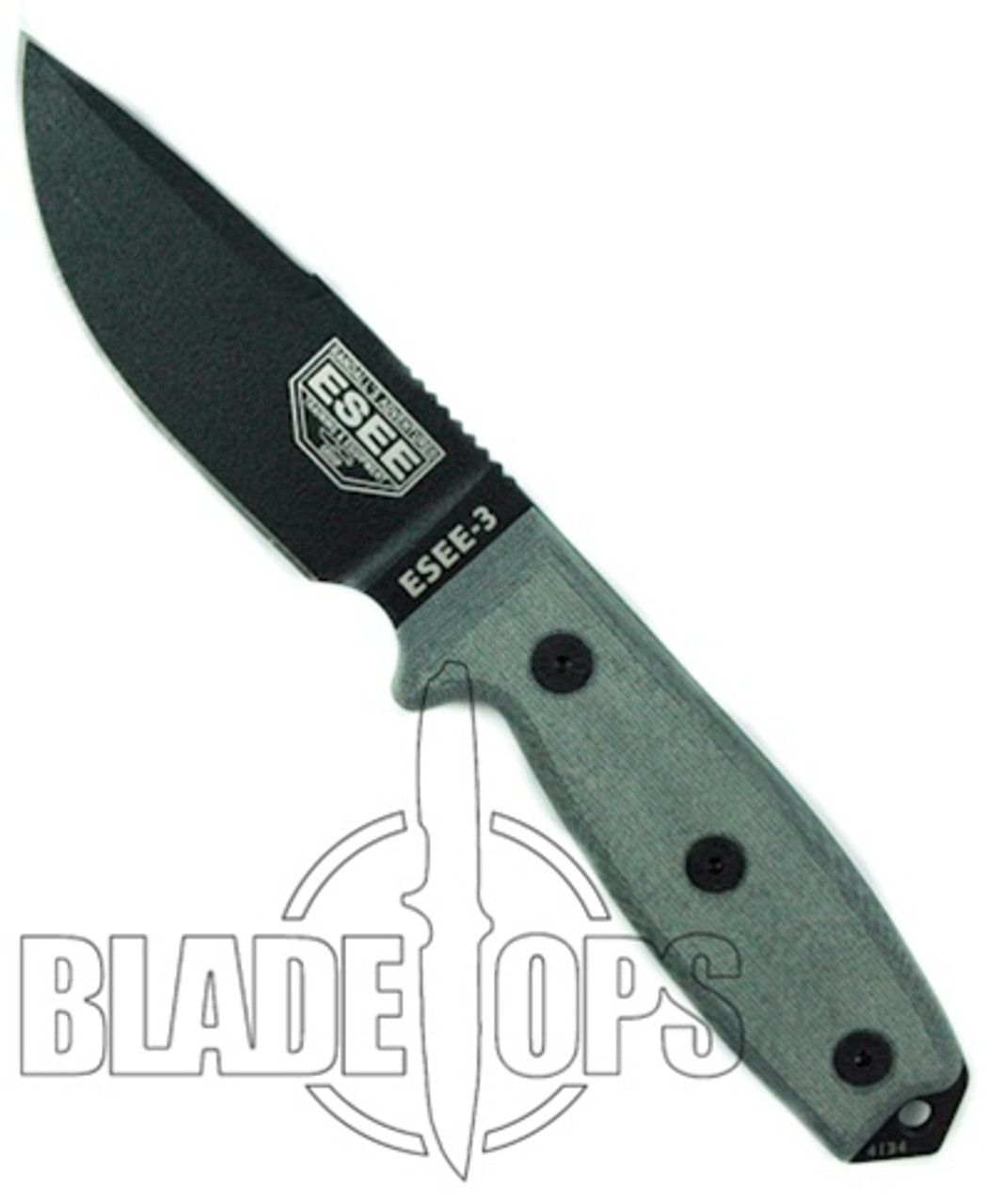 ESEE Knives ESEE-3P-CP Grey Micarta Clip Point Fixed Blade Knife, Coyote Brown Sheath, 1095 Carbon Black Blade