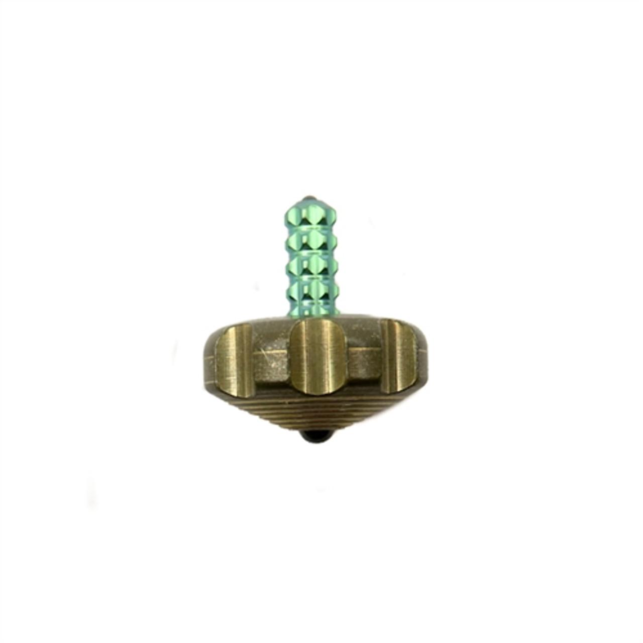 Marfione Custom Knives Brass Mini Spin Top, Green Titanium Stem