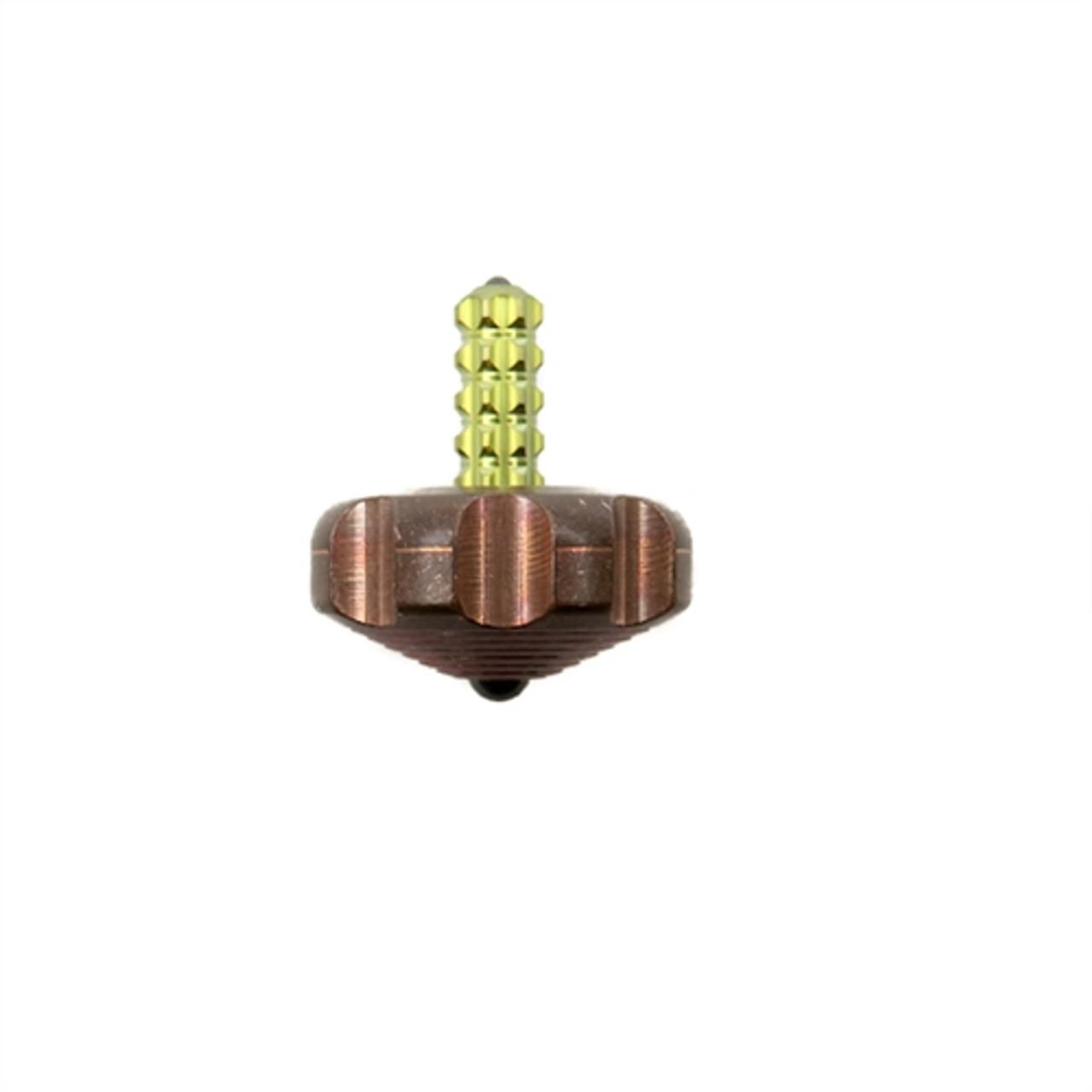 Marfione Custom Knives Copper Mini Spin Top, Gold Titanium Stem