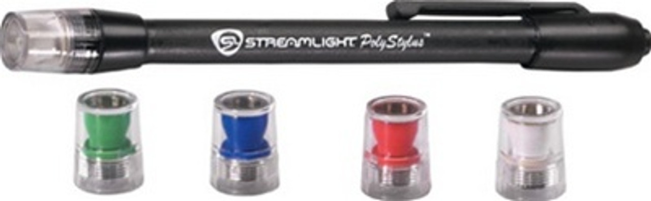 Streamlight PolyStylus Penlight with LED, Black, Four LED Colors, STR66406