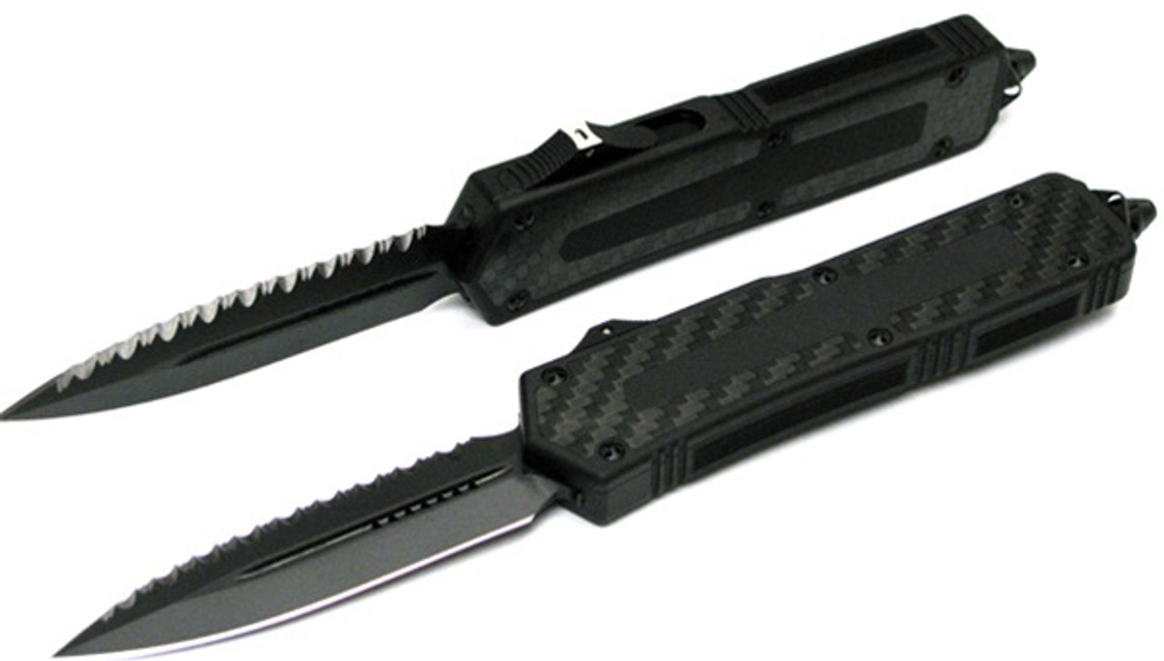 Microtech Scarab OTF, Carbon Fiber Inserts, Black Blade, Fully Serrated