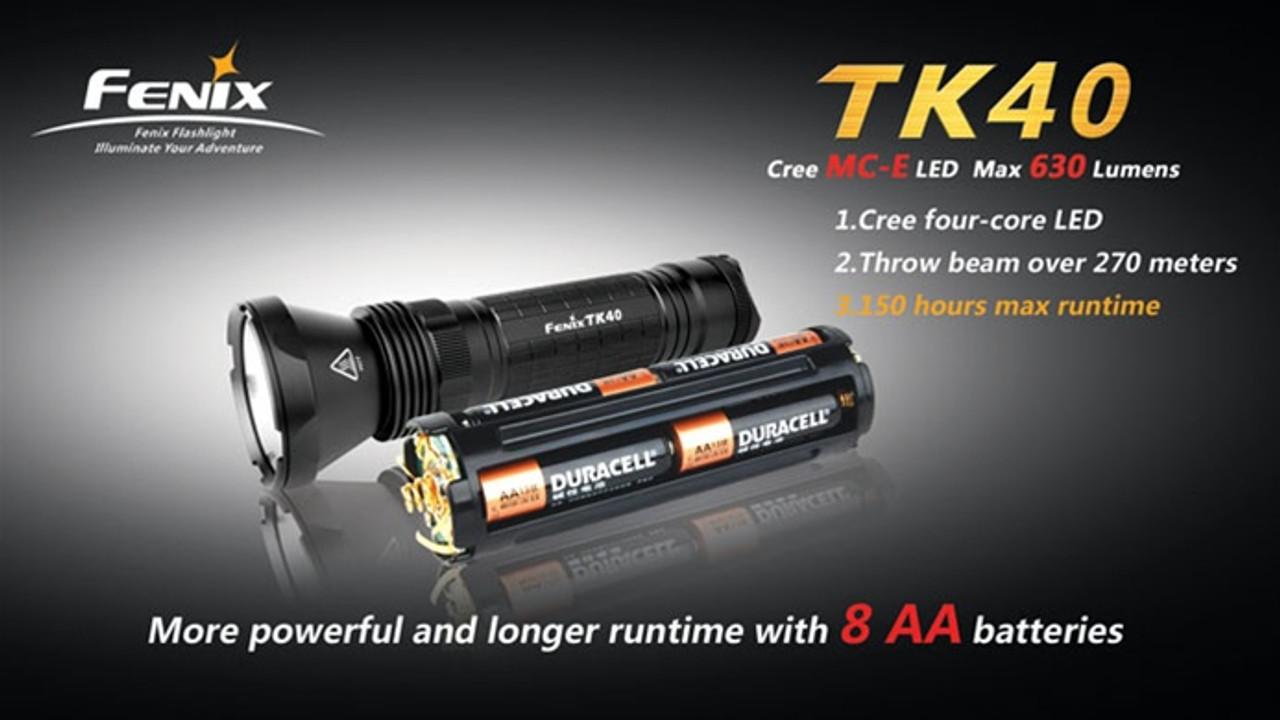 Fenix TK40 Cree MC-E LED Flashlight, 630 Lumens