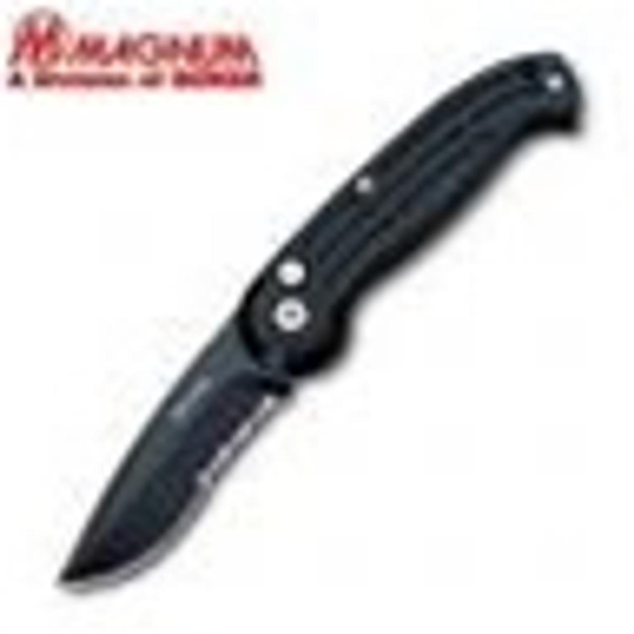 Boker Magnum (017), Large, Drop Point Black Part Serrated Blade