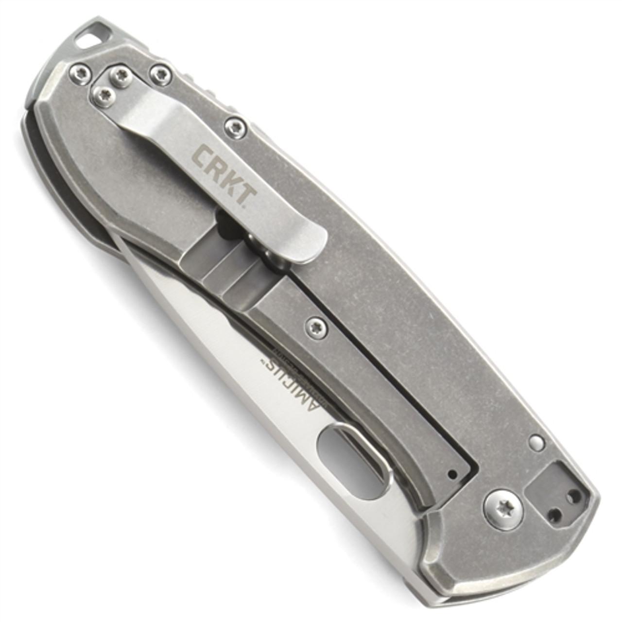 CRKT Amicus Knife, Frame Lock, Stonewash Combo Blade