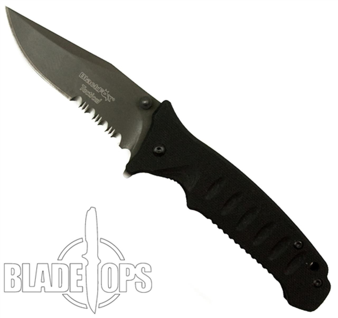 Black Fox Knives Clip Point Assist Knife, Black Combo Blade