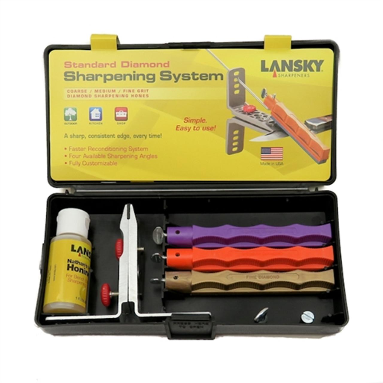 Lansky LK3DM Standard Diamond Knife Sharpening System, 3 Hones