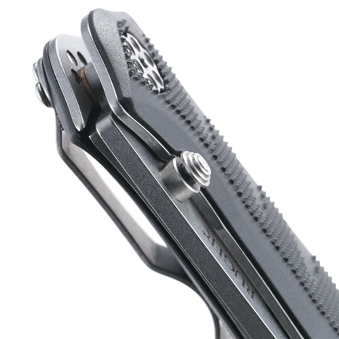 Ruger Crack-Shot Compact Assist Knife, Stonewash Combo Blade