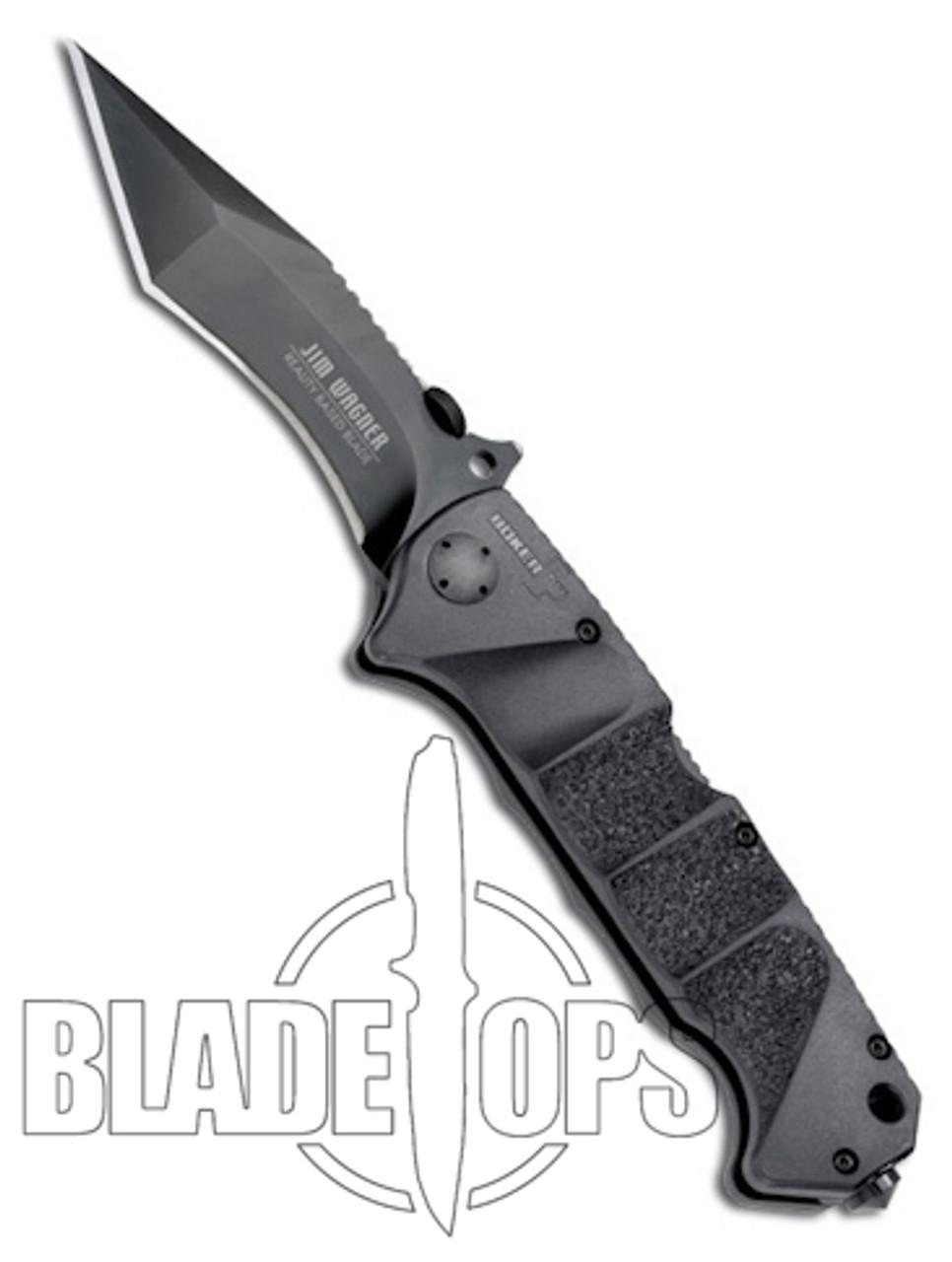 Boker Plus Jim Wagner Reality Based Knife, Black Plain Edge, BOP050