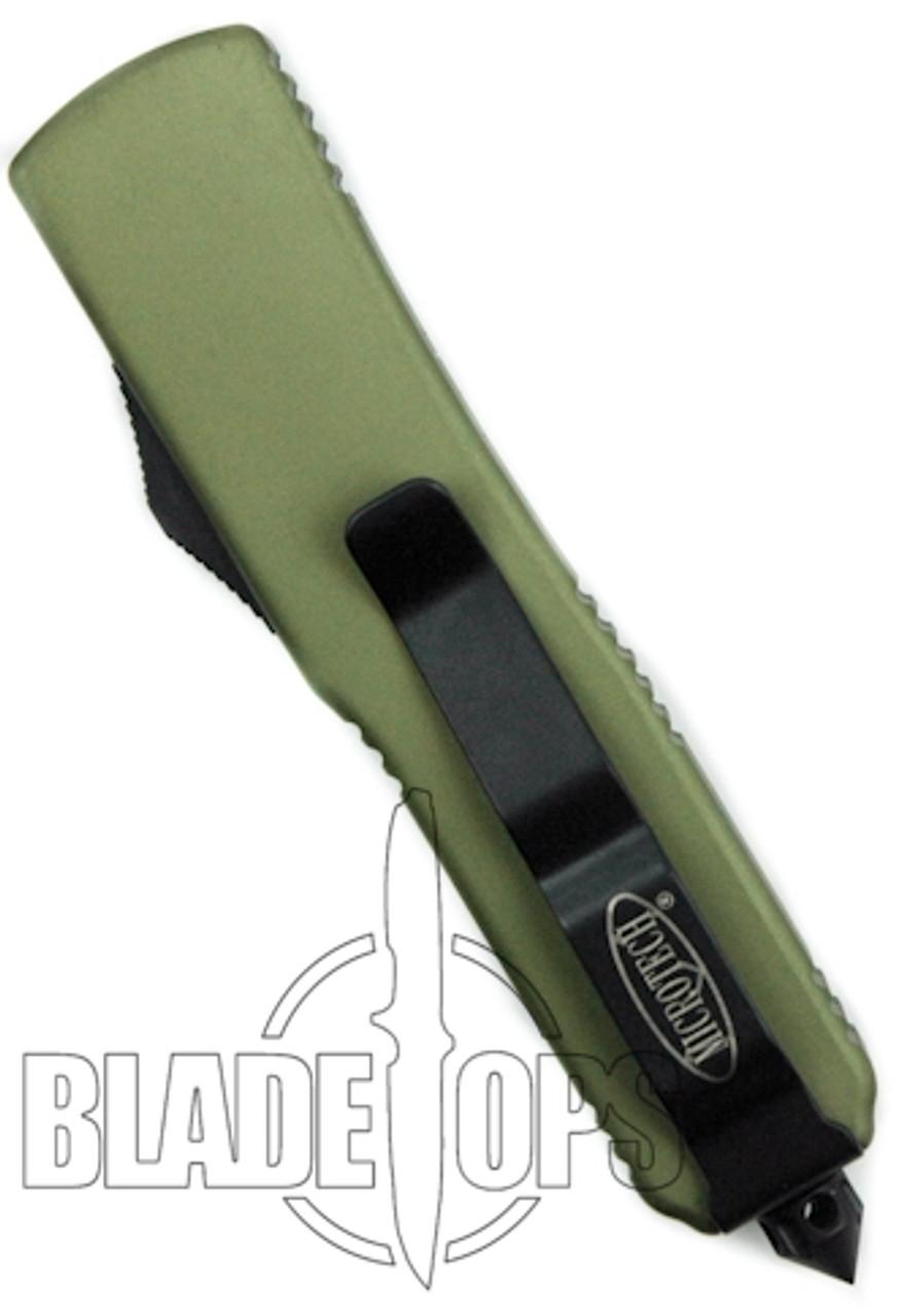Microtech UTX-85 OTF Knife, DLC Black Part Serrated Edge, Green Handle, MT125-2GR