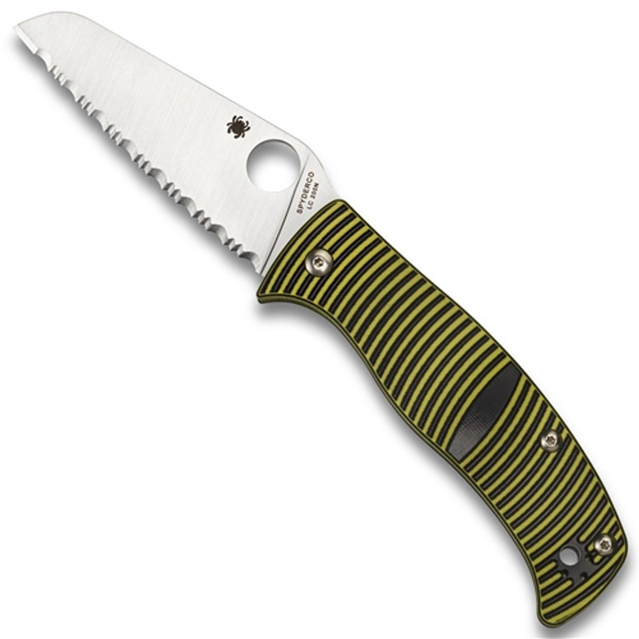 Spyderco C217GSSF Black/Yellow Caribbean Sheepsfoot Folder Knife, LC200N Satin SpyderEdge Blade