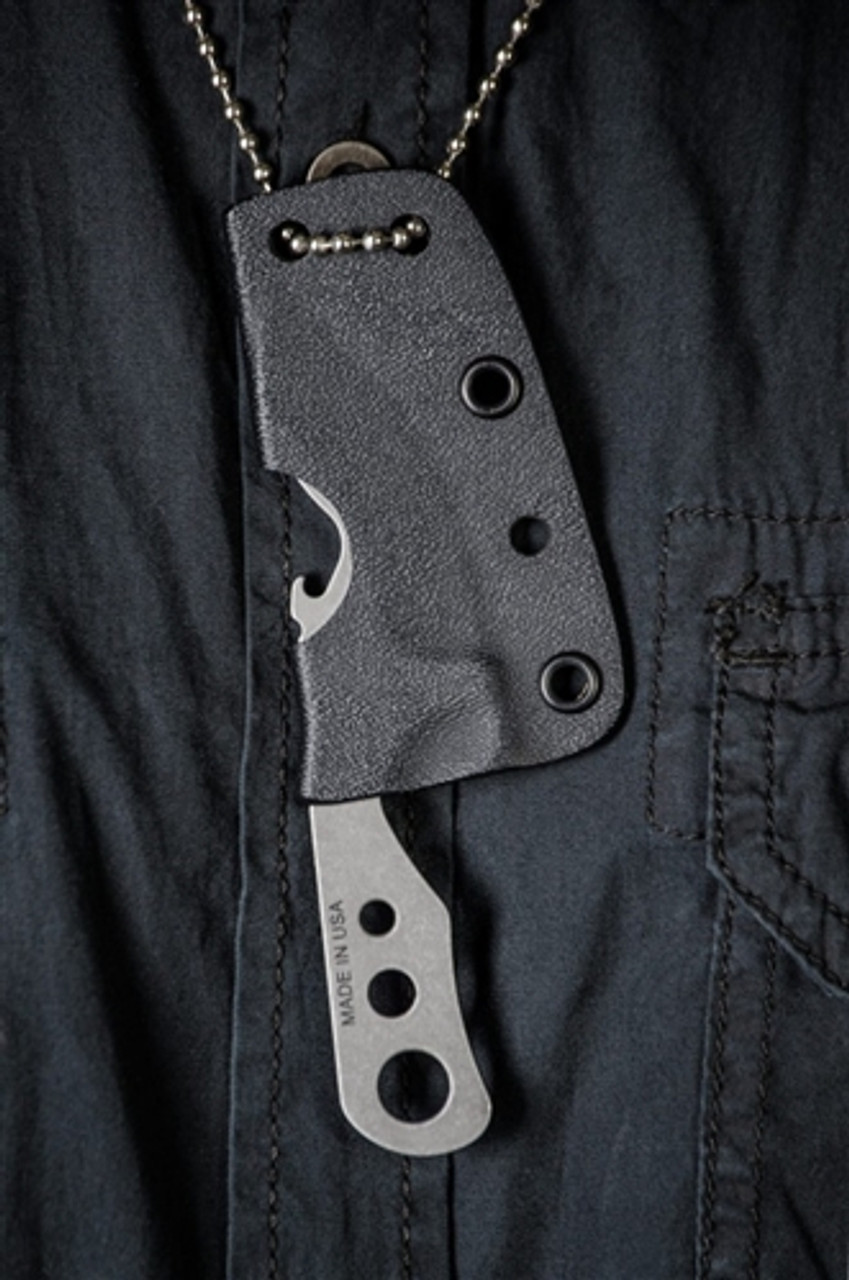 TOPS BAR-XL Bartender Defender XL Fixed Blade Neck Knife, 1095 Carbon Tumbled Blade
