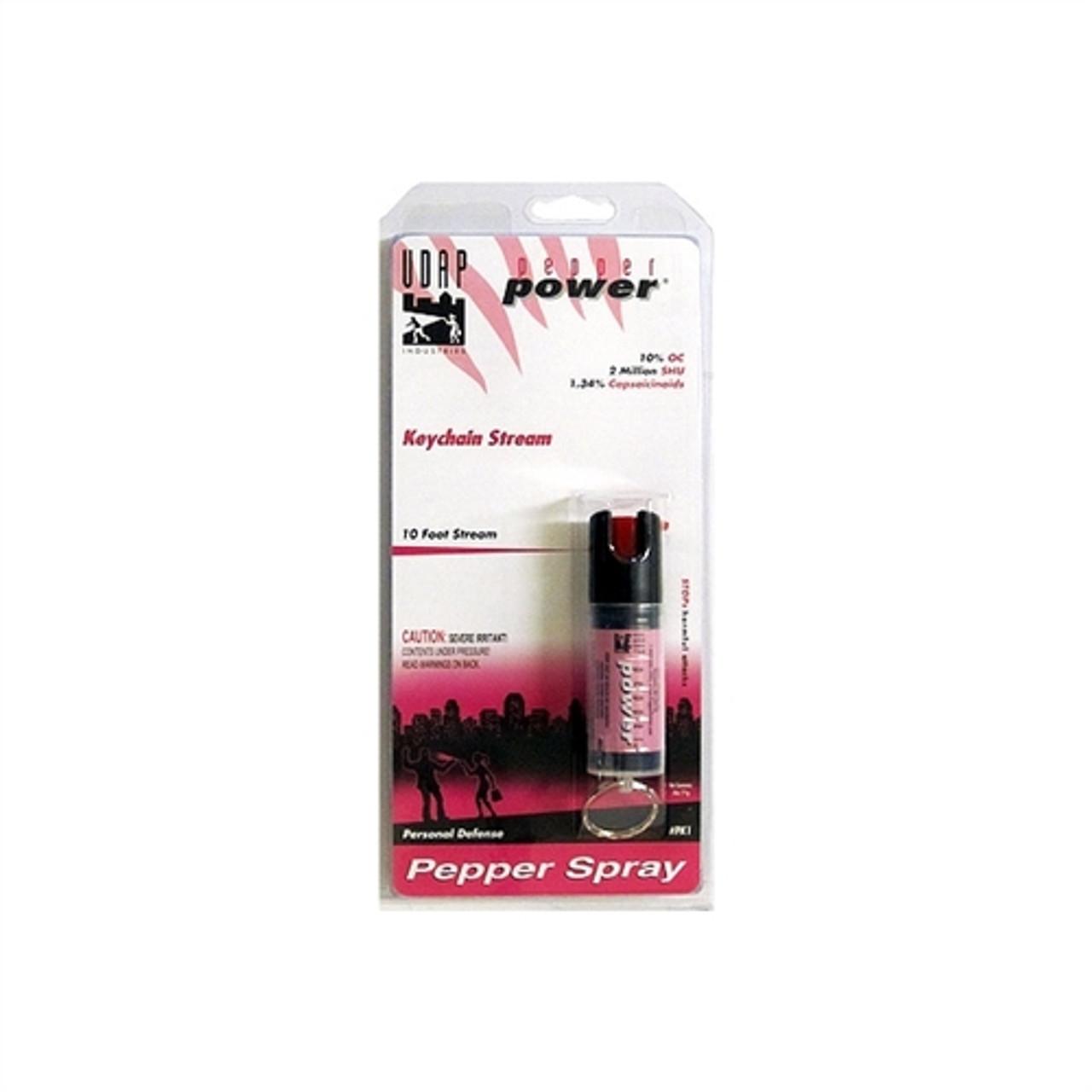 UDAP Industries Pink Keychain Pepper Stream Spray, 1/2 oz.