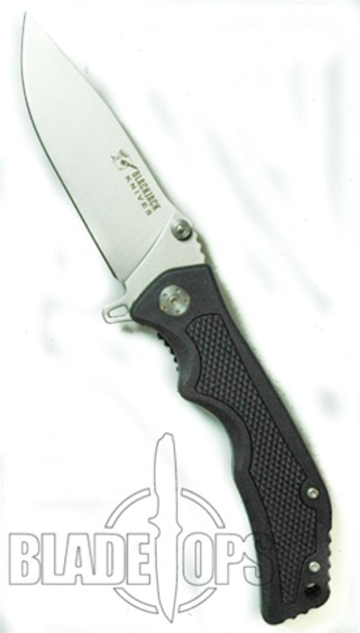 Blackjack Model 3 Drop Point Spring Assist Knife, Black, PLN, BJ036