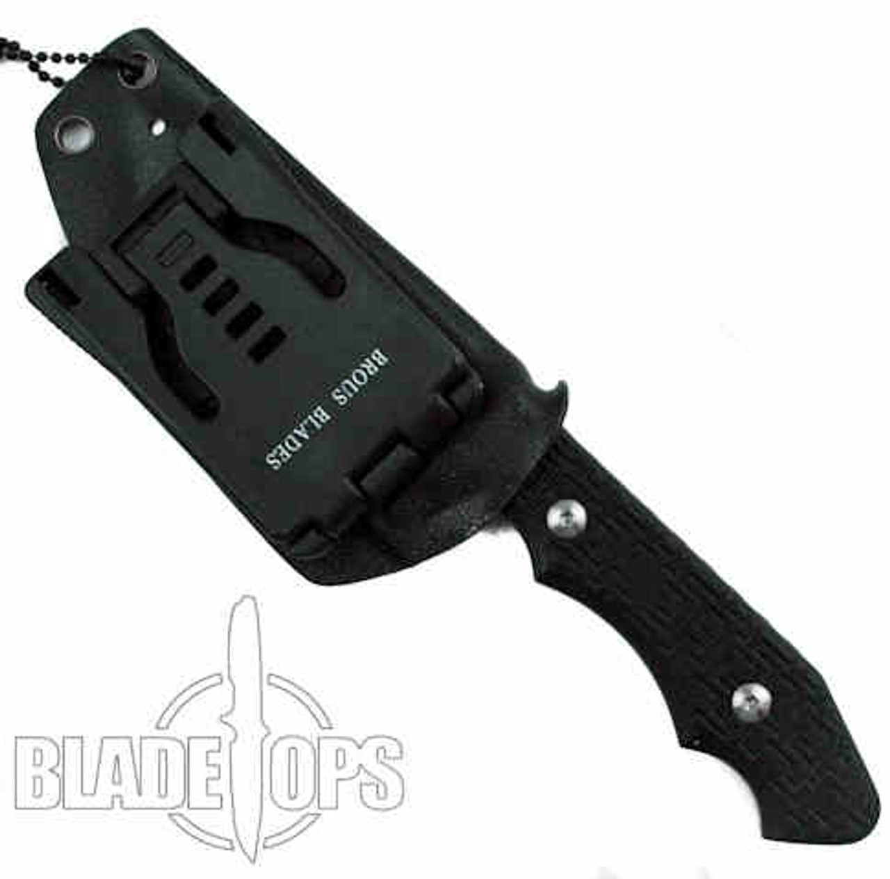 Brous Blades Triple Threat Fixed Blade Knife, Black D2 Blade