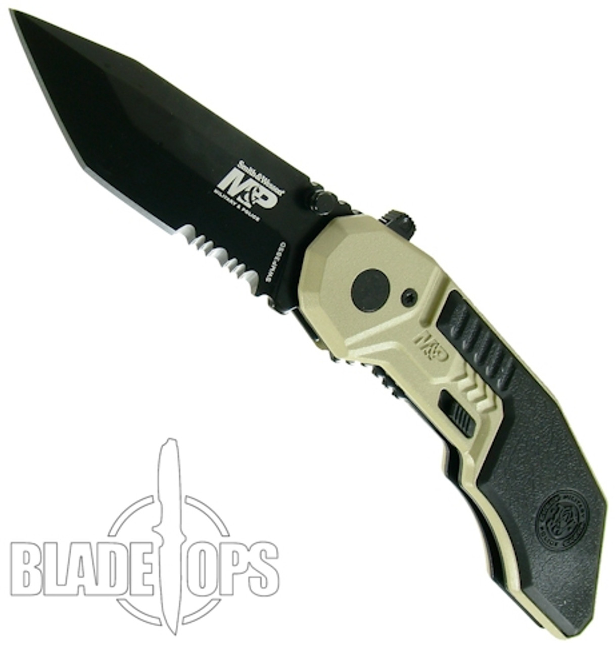 Smith & Wesson Military & Police MAGIC Assist Knife, Black Combo Blade, Tan Handle, SWMP3BSD