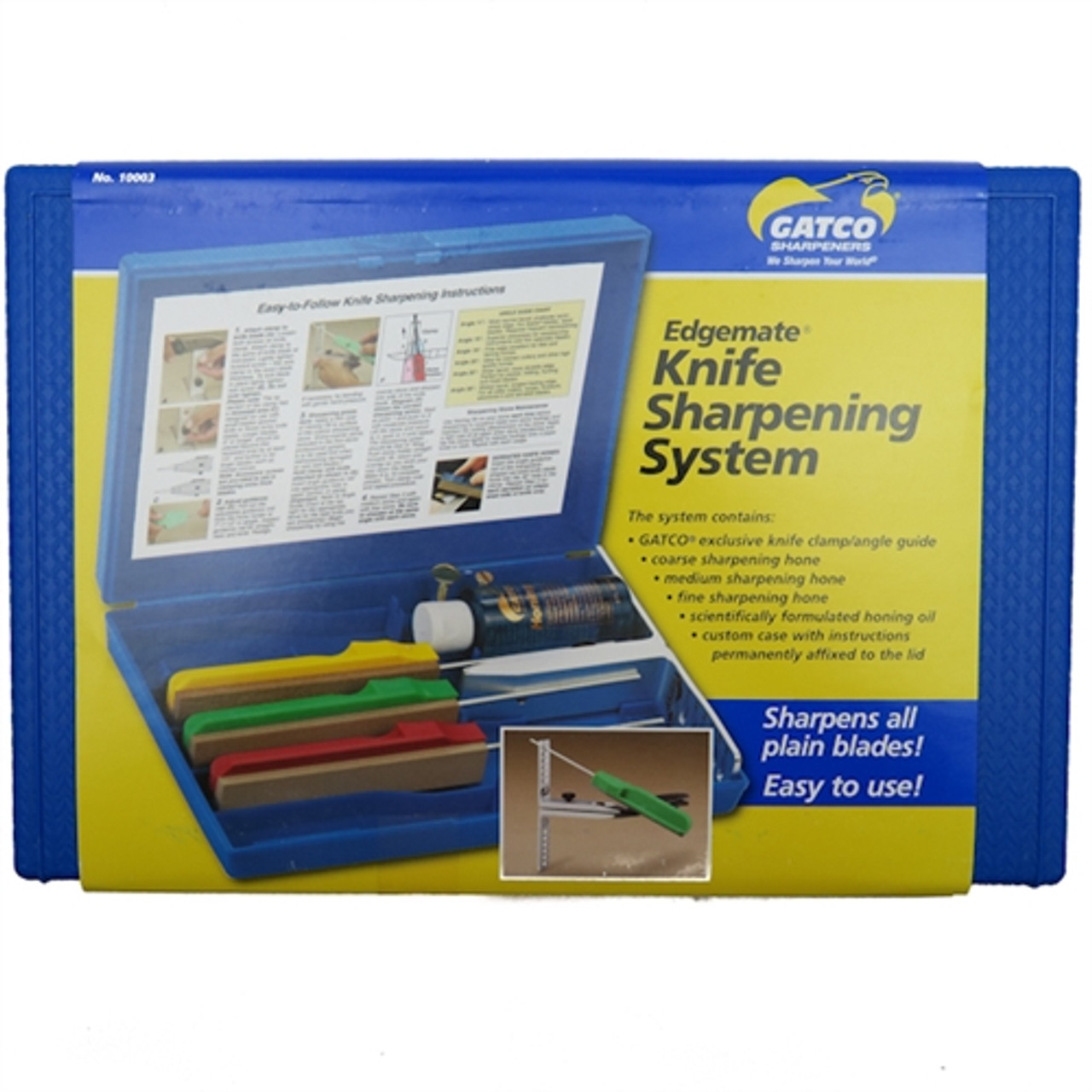 Gatco 10003 Edgemate Knife Sharpening System, 3 Hones