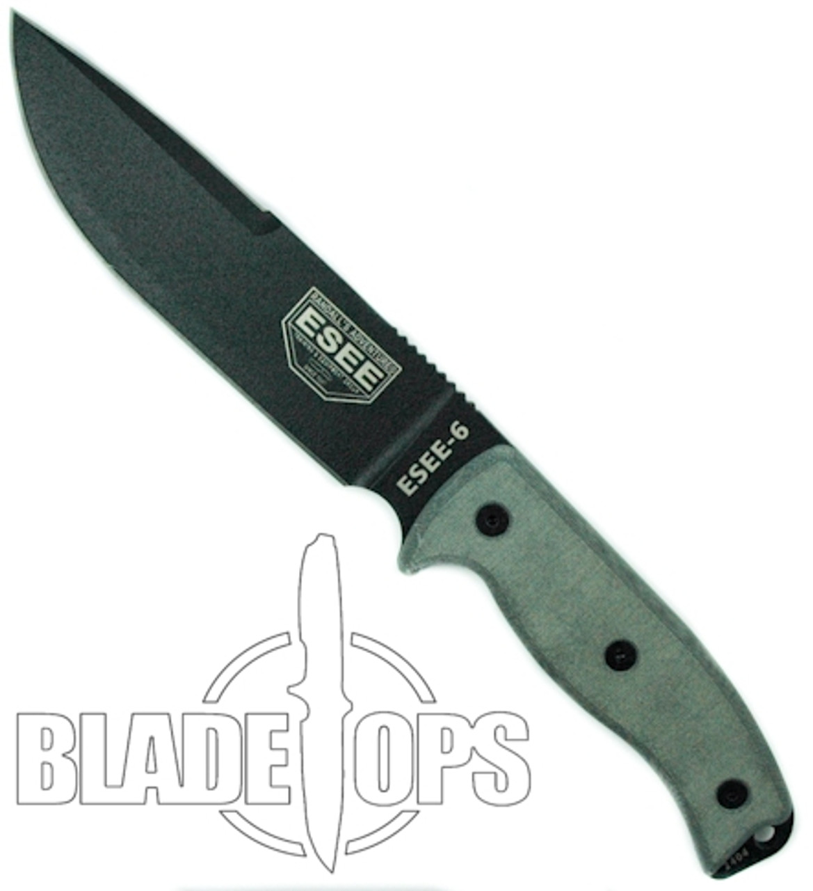 ESEE Knives 6PCPOD Fixed Blade Knife, Black Clip Point Blade, Linen Micarta Handle, Olive Drab Sheath