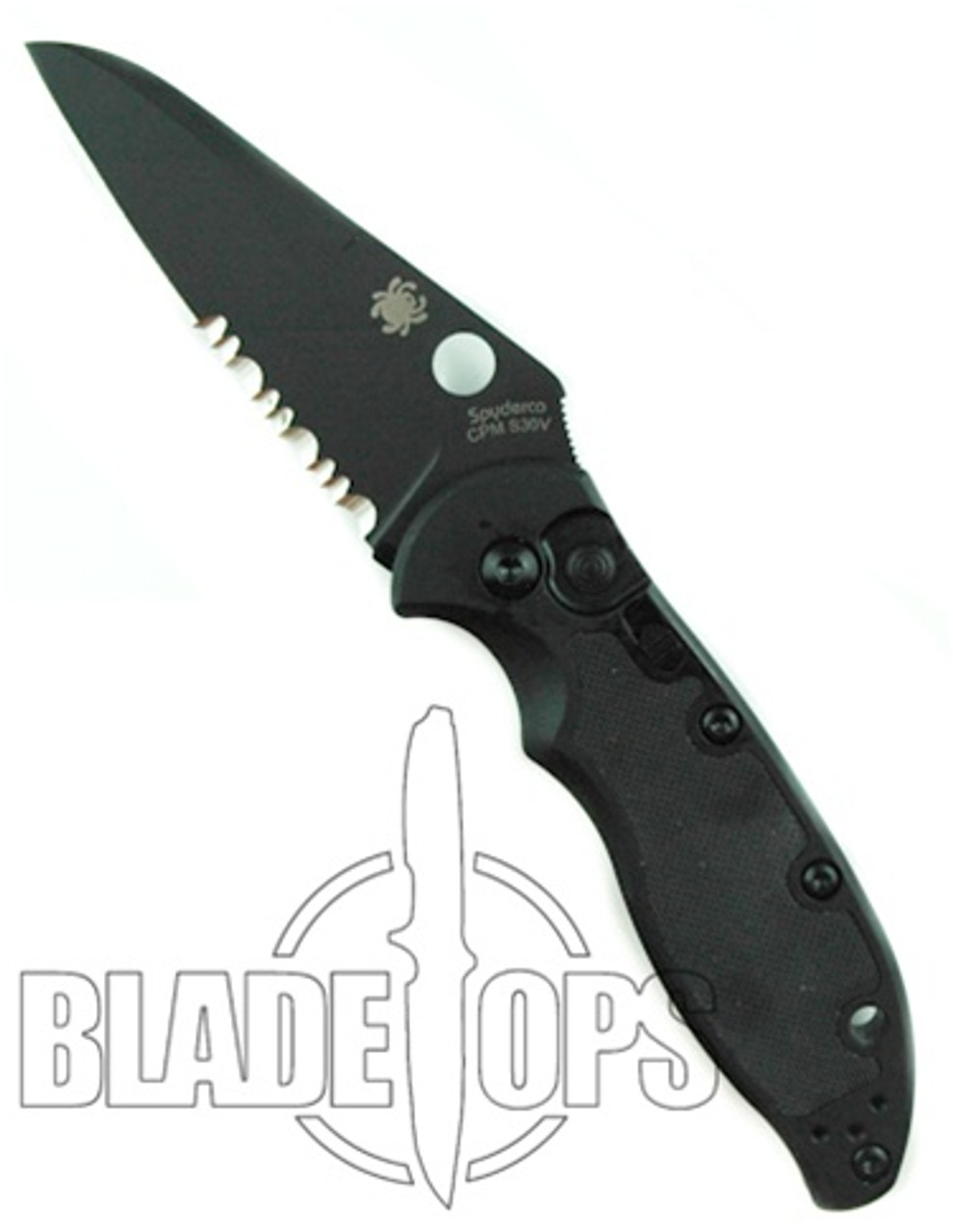 Spyderco Embassy Auto Knife, Tactical Black Blade, Part Serrated, C121BKPS