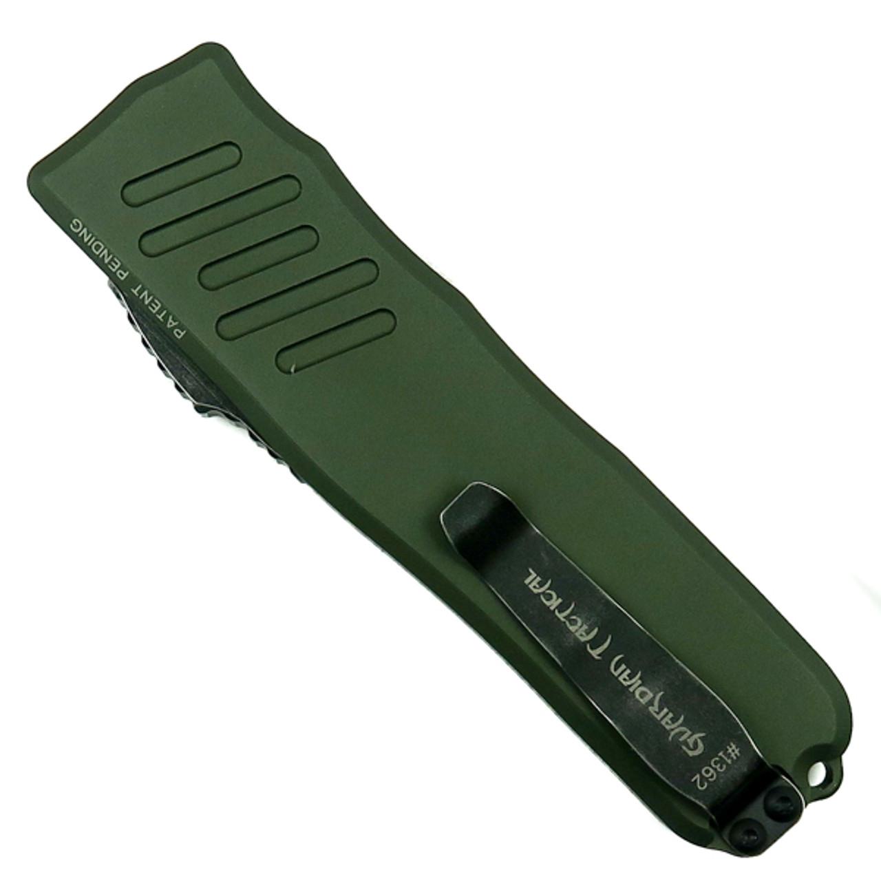 Guardian Tactical OD Green RECON-035 OTF Auto Knife, Dark Stonewash Blade